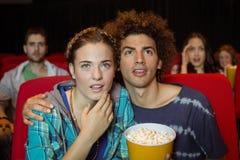 Amigos novos que olham um filme Imagem de Stock