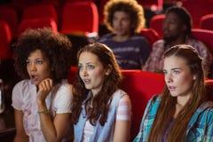 Amigos novos que olham um filme Fotos de Stock Royalty Free