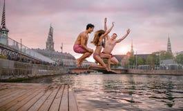 Amigos novos que saltam do molhe no lago Fotos de Stock Royalty Free