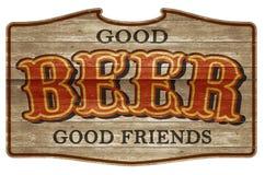 Amigos occidentales de la placa de madera de la muestra de la cerveza viejos foto de archivo