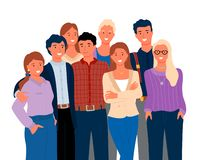 Amigos ou parentes, homem de sorriso e vetor da mulher ilustração royalty free
