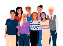 Amigos ou parentes, homem de sorriso e vetor da mulher ilustração stock