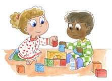 Amigos pequenos bonitos ilustração do vetor