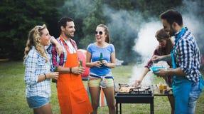 Amigos que apreciam o partido do BBQ foto de stock