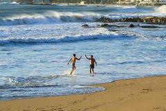Amigos que apreciam um dia ensolarado pelo mar fotografia de stock