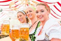 Amigos que bebem a cerveja bávara em Oktoberfest Fotos de Stock