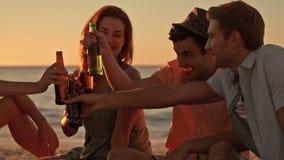 Amigos que beben la cerveza en la playa almacen de metraje de vídeo