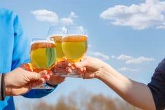 Amigos que beben la cerveza y que tintinean los vidrios Fotos de archivo