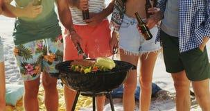 Amigos que cocinan la comida en barbacoa y que beben la cerveza en la playa 4k almacen de metraje de vídeo