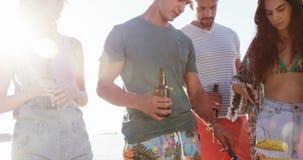 Amigos que cocinan la comida en barbacoa y que beben la cerveza en la playa 4k almacen de video