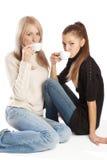 Amigos que comem o café Fotos de Stock Royalty Free