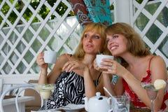 Amigos que comem o café no café. Imagens de Stock