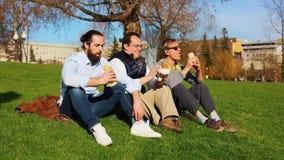 Amigos que comen y que hablan teniendo comida campestre en parque en verano metrajes