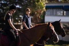 Amigos que falam ao sentar-se no cavalo no celeiro imagem de stock royalty free