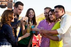 Amigos que fazem um brinde em uma barra Foto de Stock