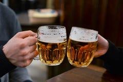 Amigos que gozan de la cerveza Foto de archivo libre de regalías