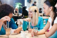 Amigos que gozan en un café. Imagen de archivo libre de regalías