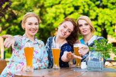 Amigos que hablan y que beben en jardín de la cerveza Foto de archivo libre de regalías