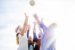 Amigos que jogam o voleibol Imagens de Stock