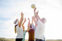 Amigos que jogam o voleibol Foto de Stock
