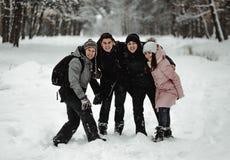 Amigos que juegan con nieve en parque fotografía de archivo libre de regalías