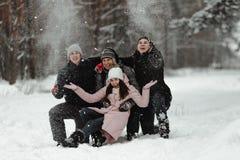 Amigos que juegan con nieve en parque imágenes de archivo libres de regalías