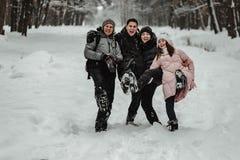 Amigos que juegan con nieve en parque foto de archivo