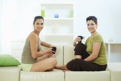 Amigos que sentam-se no sofá Imagens de Stock Royalty Free