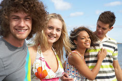 Amigos que têm o divertimento na praia do verão junto Imagens de Stock