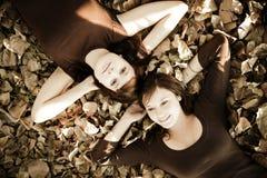 Amigos sobre las hojas Imagen de archivo