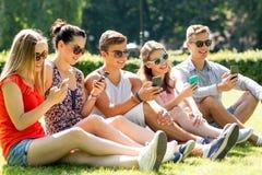 Amigos sonrientes con los smartphones que se sientan en hierba Fotografía de archivo
