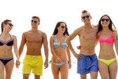Amigos sonrientes en gafas de sol en la playa del verano Foto de archivo libre de regalías