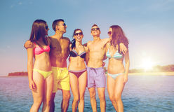 Amigos sonrientes en gafas de sol en la playa del verano Fotografía de archivo