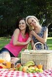 Amigos sonrientes magníficos de las mujeres en la comida campestre Foto de archivo libre de regalías
