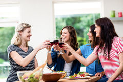 Amigos sonrientes que tuestan las copas de vino rojas Fotos de archivo