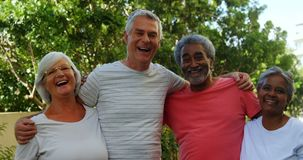 Amigos superiores que estão junto com o braço ao redor no jardim 4k vídeos de arquivo
