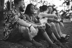 Amigos y cervezas que disfrutan de festival de música junto imagen de archivo