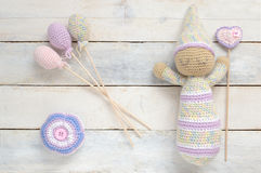 Amigurumi, crochet toy doll with some handmade decoration Royalty Free Stock Photo