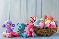 Amigurumi toys. On a wooden background Stock Photography