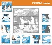 Łamigłówki gra dla dzieci z zwierzętami (pingwin rodzina) Zdjęcia Royalty Free