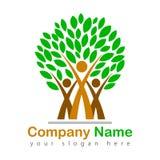 Amily illustrazione felice di logo dell'albero Immagine Stock Libera da Diritti