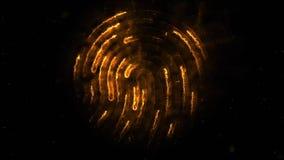 Amination av det clorful fingeravtrycket Animering av utseendet och försvinnande av fingeravtrycket med gnistor på svart Arkivfoto