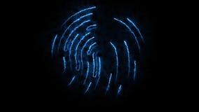 Amination av det clorful fingeravtrycket Animering av utseendet och försvinnande av fingeravtrycket med gnistor på svart Royaltyfri Fotografi