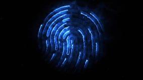 Amination of clorful fingerprint. Animation of appearance and disappearance of fingerprint with sparks on black