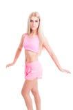 Amincissez et adaptez l'entraîneur féminin de forme physique ou d'aérobic Photos stock