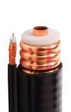 Amincissez et câble coaxial de liaison épais Photos stock