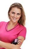 Amincissez et souriez portrait sportif de femme Photos stock