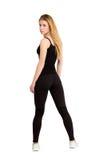 Amincissez la femme d'isolement, perte de poids, bonne forme Photo stock