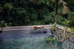 Amincissez la femme sexy de brune dans le maillot de bain détendant sur la piscine tropicale d'infini de bord dans la jungle Paum Images stock