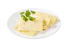 Amincissez le fromage coupé en tranches Images libres de droits